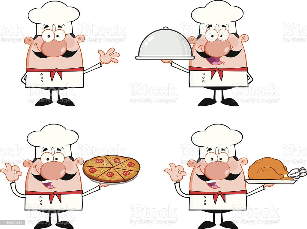 Collection of Cute Chef - 2 vector art illustration