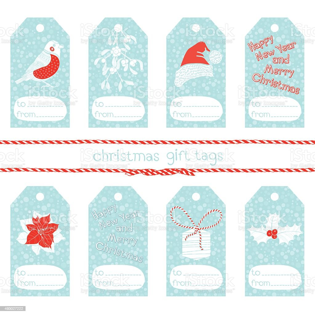 Collection of cute christmas gift tags. vector art illustration