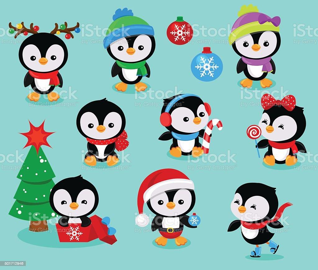 Collection of cute Christmas penguins kids. Vector illustration vector art illustration