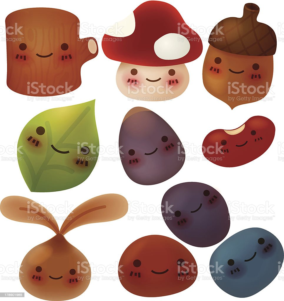 Collection of cute forest item - Vector File EPS10 royalty-free stock vector art