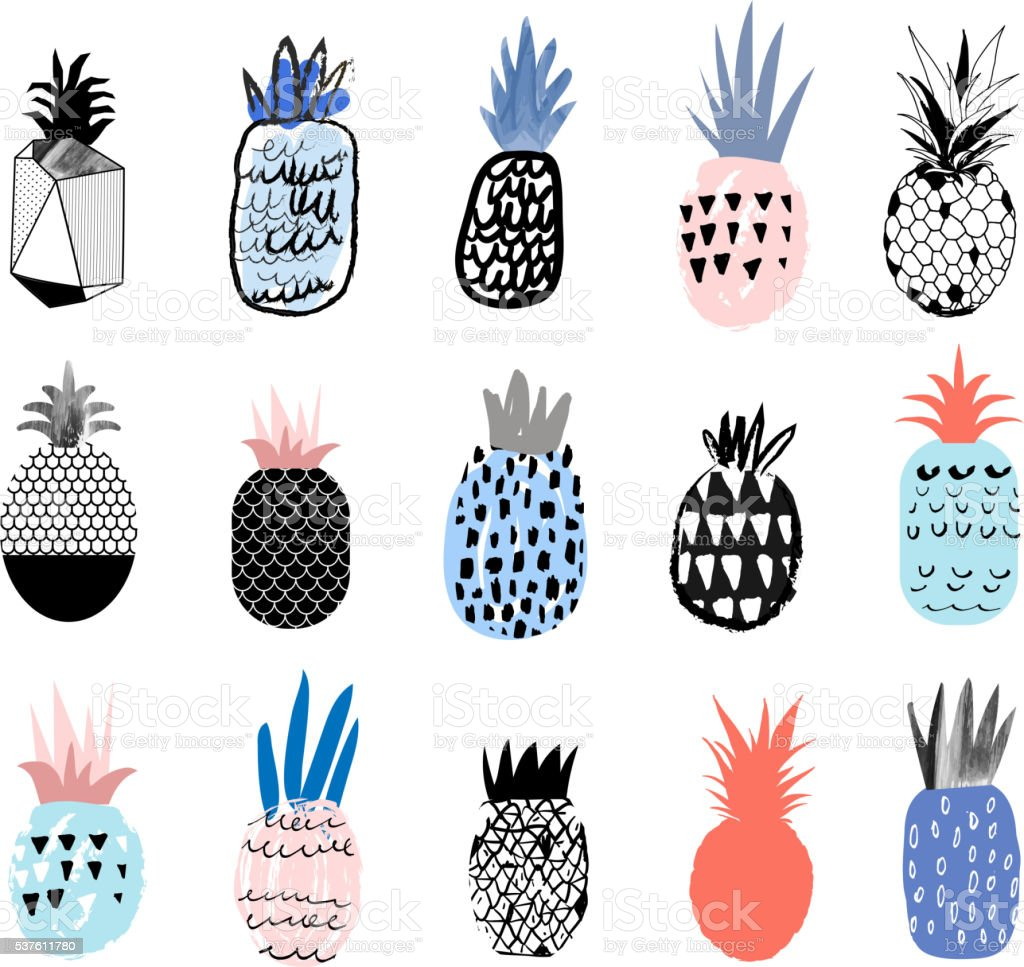 Collection of cute pineapples with different hand drawn textures vector art illustration