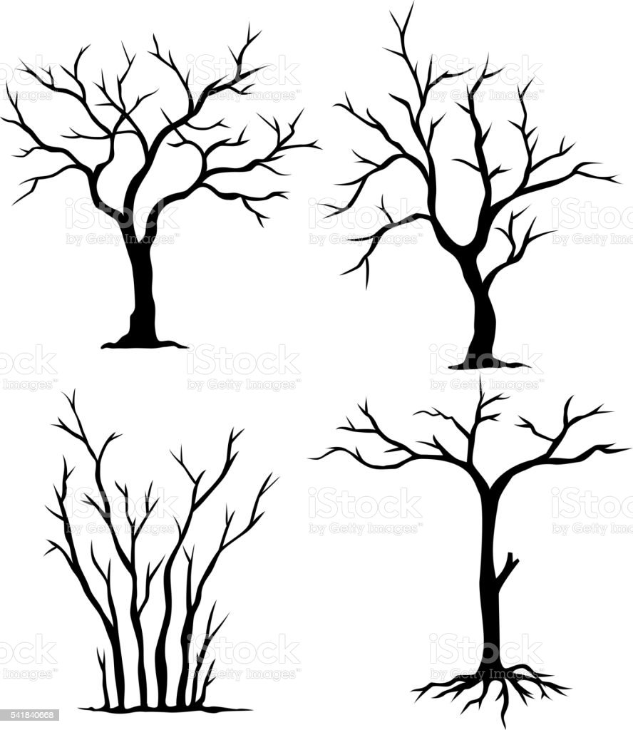 collection of dead trees vector art illustration