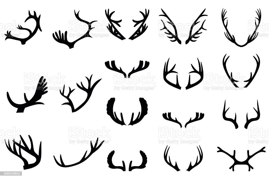 Collection of deer horns vector art illustration