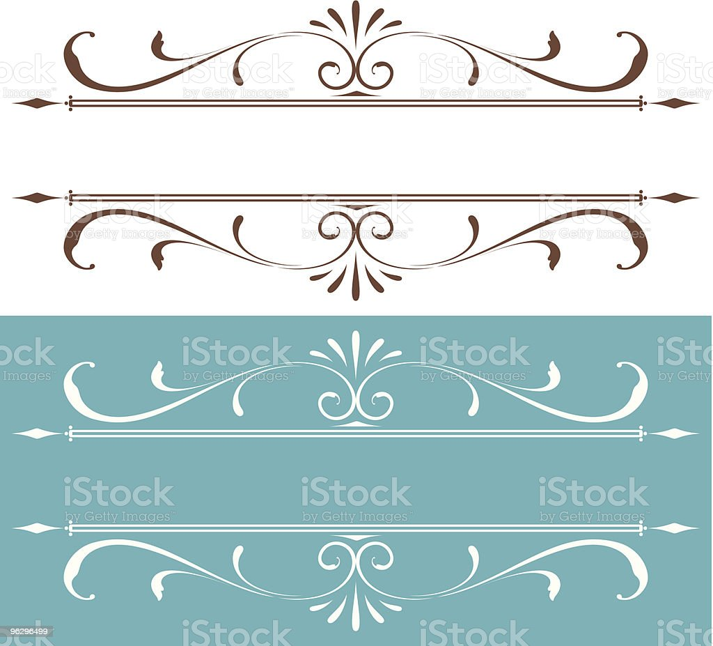 Collection of delicate scroll designs royalty-free stock vector art