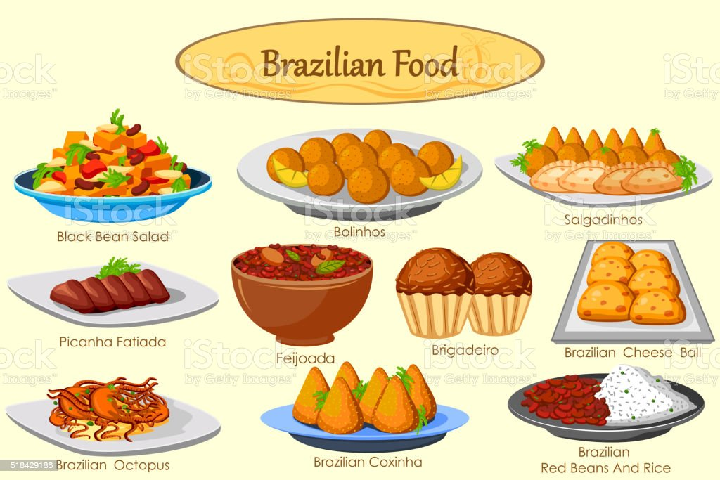 Collection of delicious Brazilian food vector art illustration
