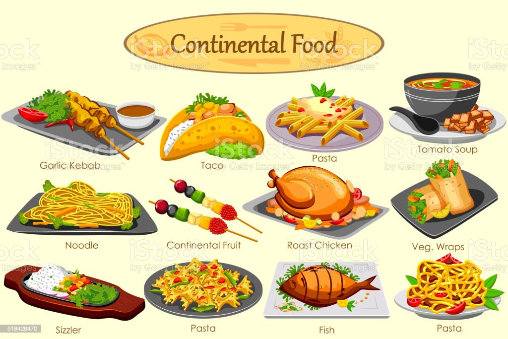 Collection of delicious continental food stock vector art for About continental cuisine