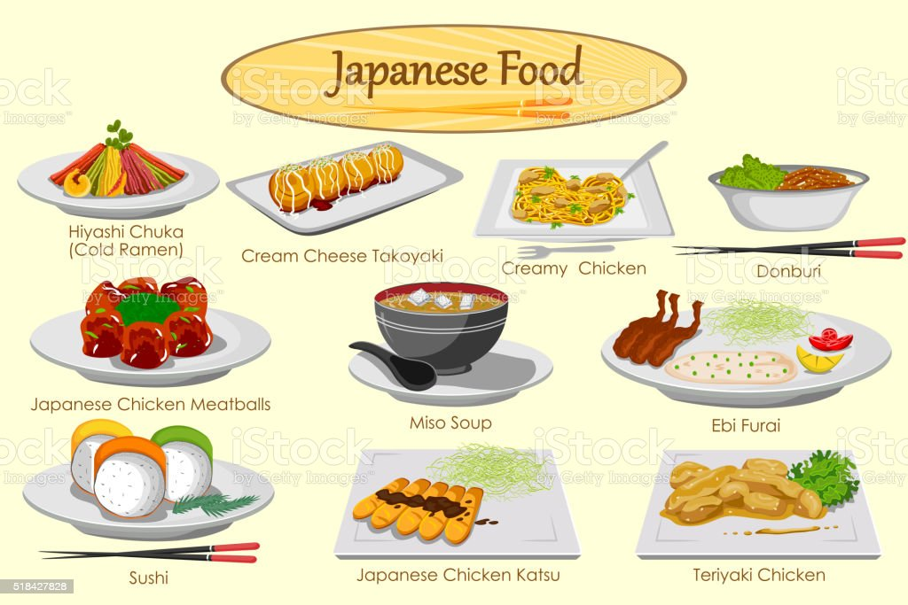 Collection of delicious Japanese food vector art illustration