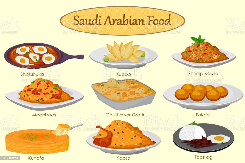 Collection of delicious Saudi Arabian food vector art illustration