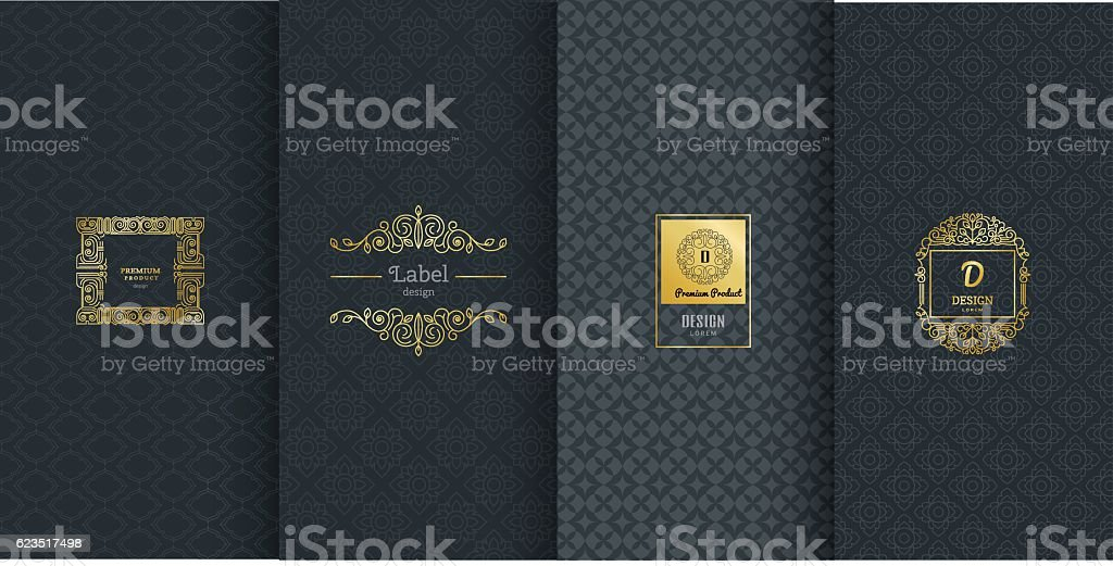 Collection of design elements,labels,icon,frames, for packaging vector art illustration