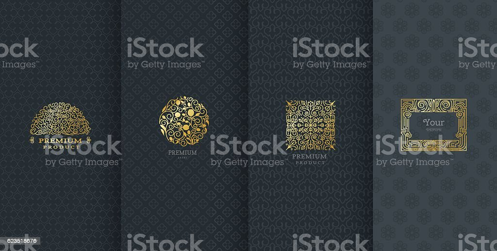 Collection of design elements,labels,icon,frames, for packaging royalty-free stock vector art