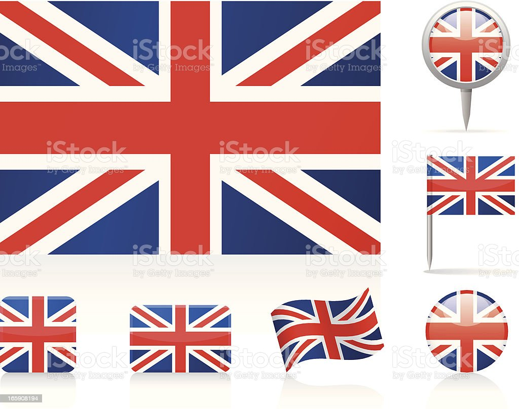 A collection of designs of the United Kingdom flag vector art illustration