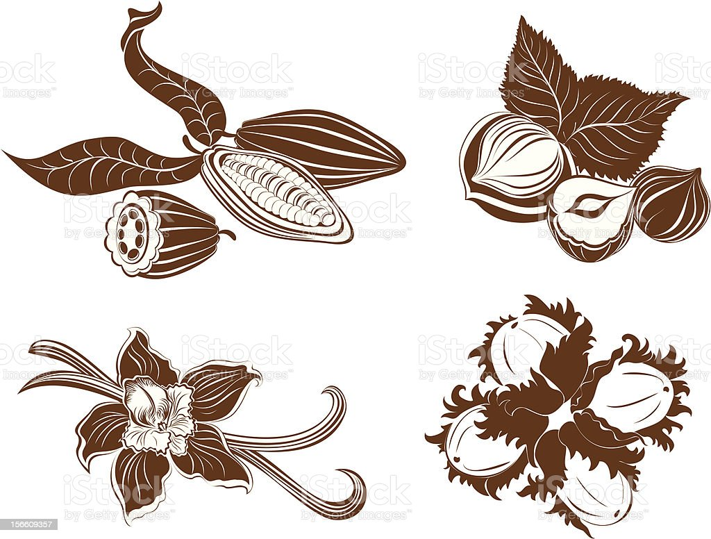 Collection of dessert ingredients. Hazelnuts, cocoa beans, vanilla pods royalty-free stock vector art