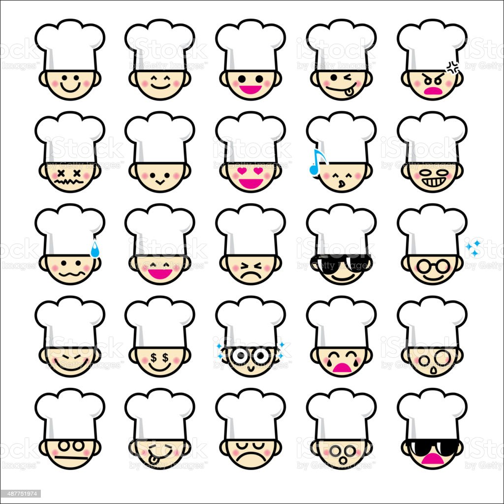 collection of difference emoticon icon of chef cartoon stock