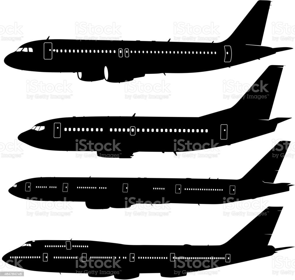 Collection of different  aircraft silhouettes. vector art illustration