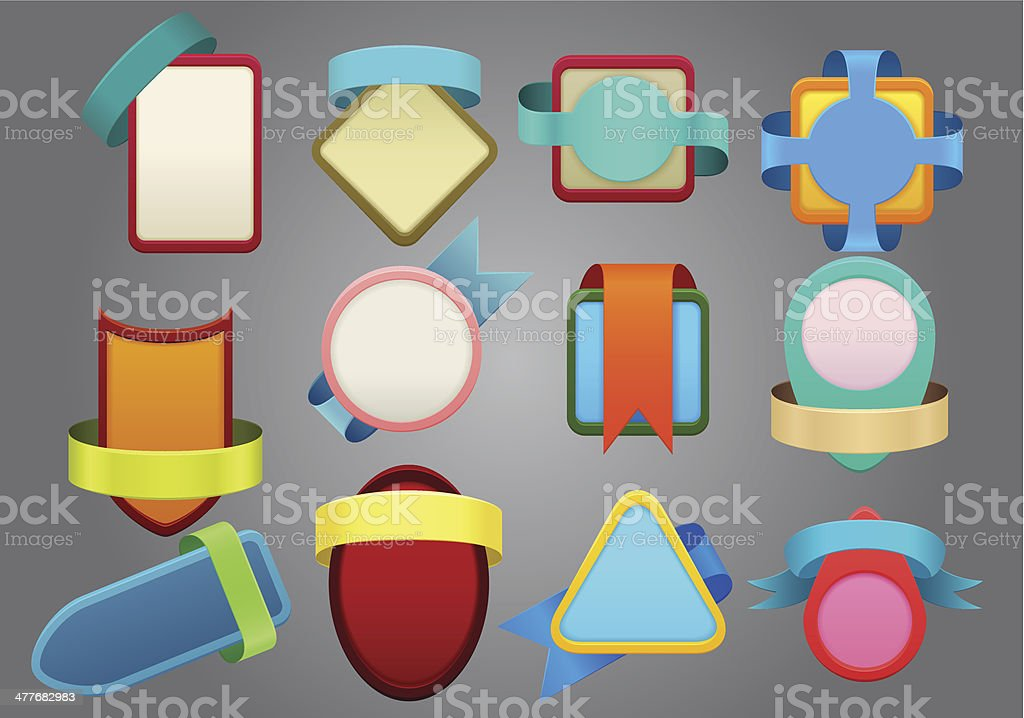 collection of different color ribbon  labels royalty-free stock vector art
