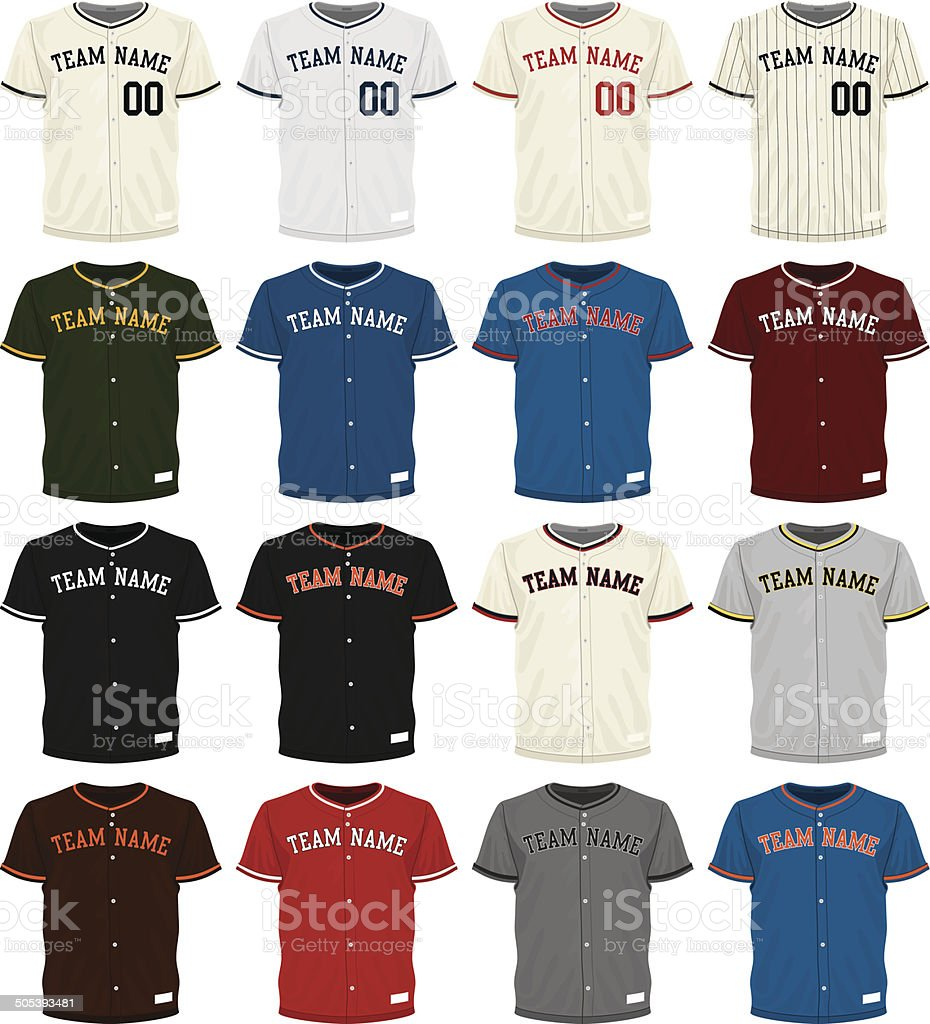 Collection of different colored baseball jersey options vector art illustration