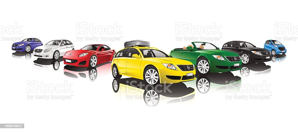 Collection of different colored cars vector art illustration