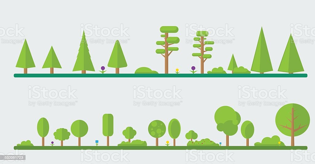 Collection of different flat trees vector art illustration