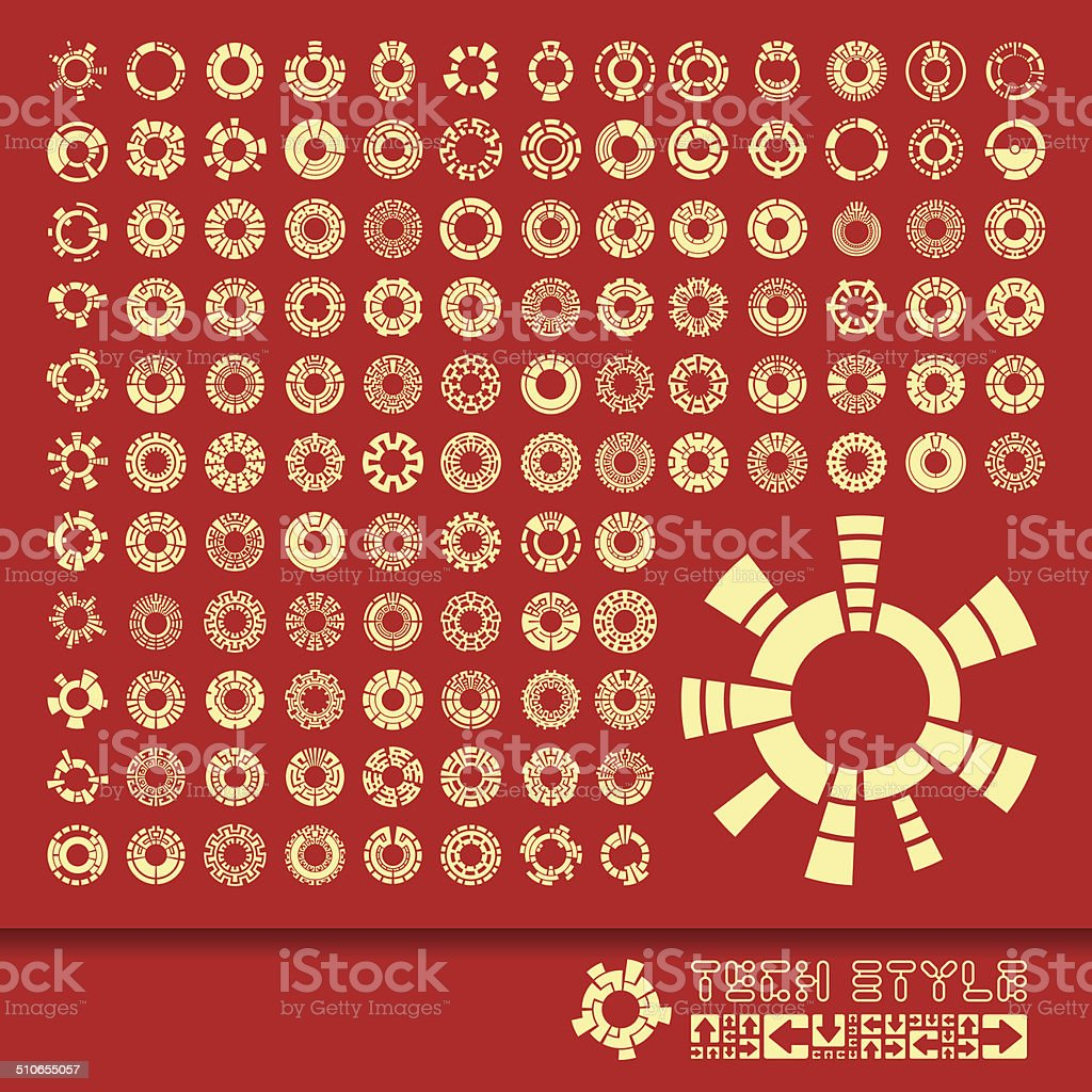 Collection of different graphic elements vector art illustration