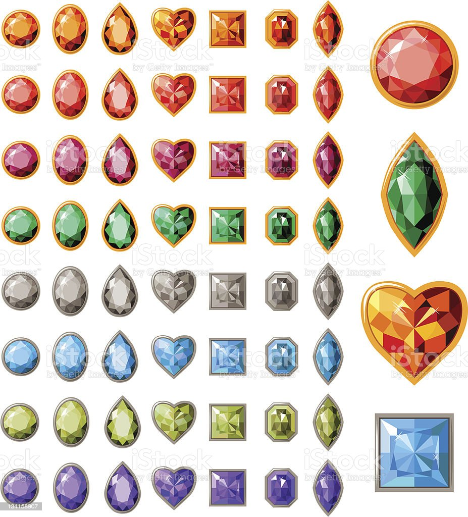 Collection of different jewels vector art illustration
