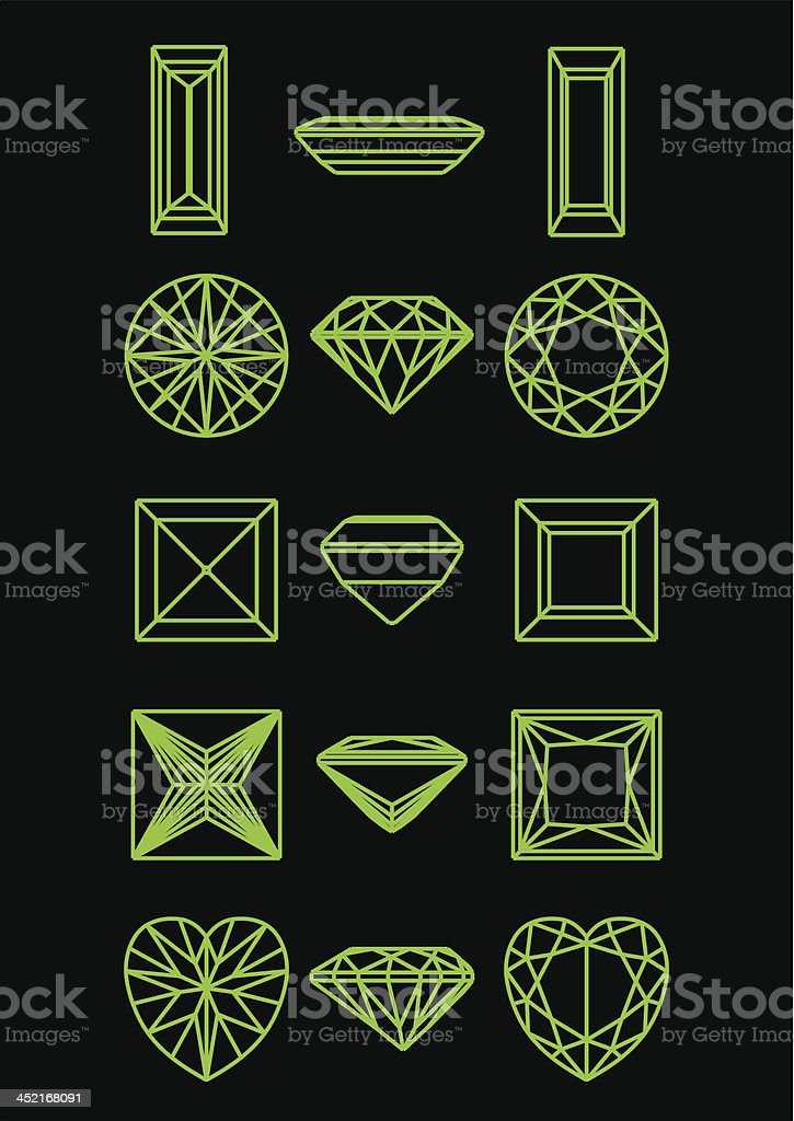 Collection of different shape diamond royalty-free stock vector art