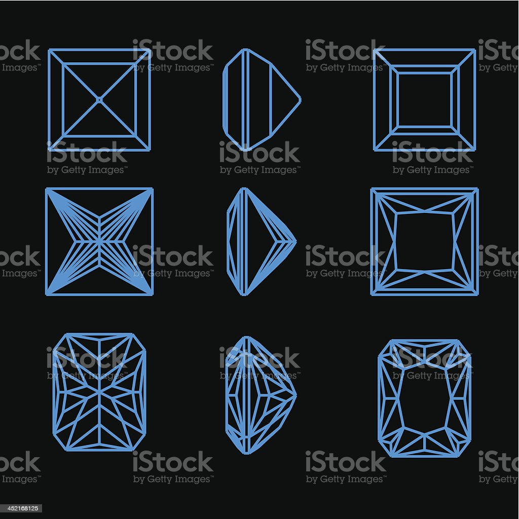 Collection of different shapes diamond royalty-free stock vector art