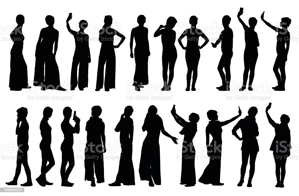Collection of different short hair woman silhouettes in various poses vector art illustration