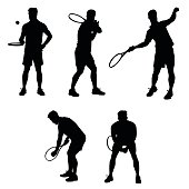 Collection of different tennis player poses