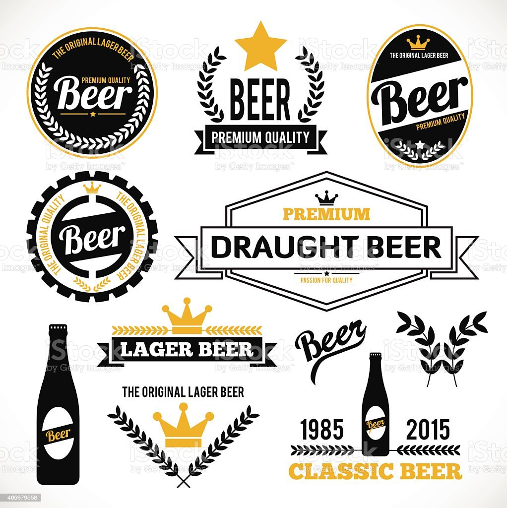 A collection of different type of beer labels vector art illustration