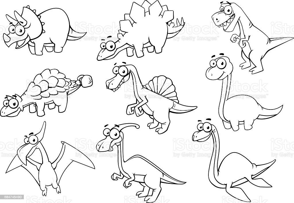 Collection of dinosaur royalty-free stock vector art