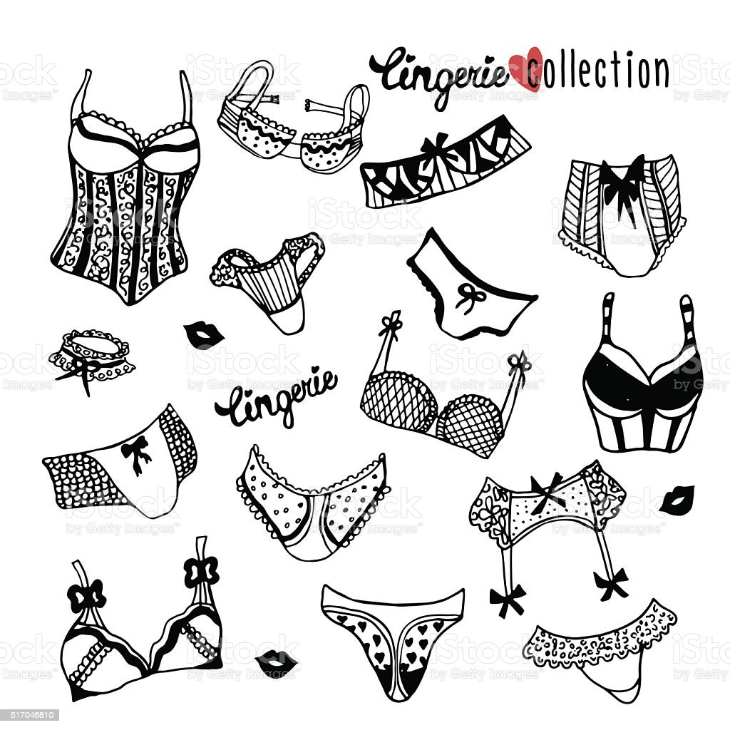 Collection of doodle women lingerie isolated on white vector art illustration