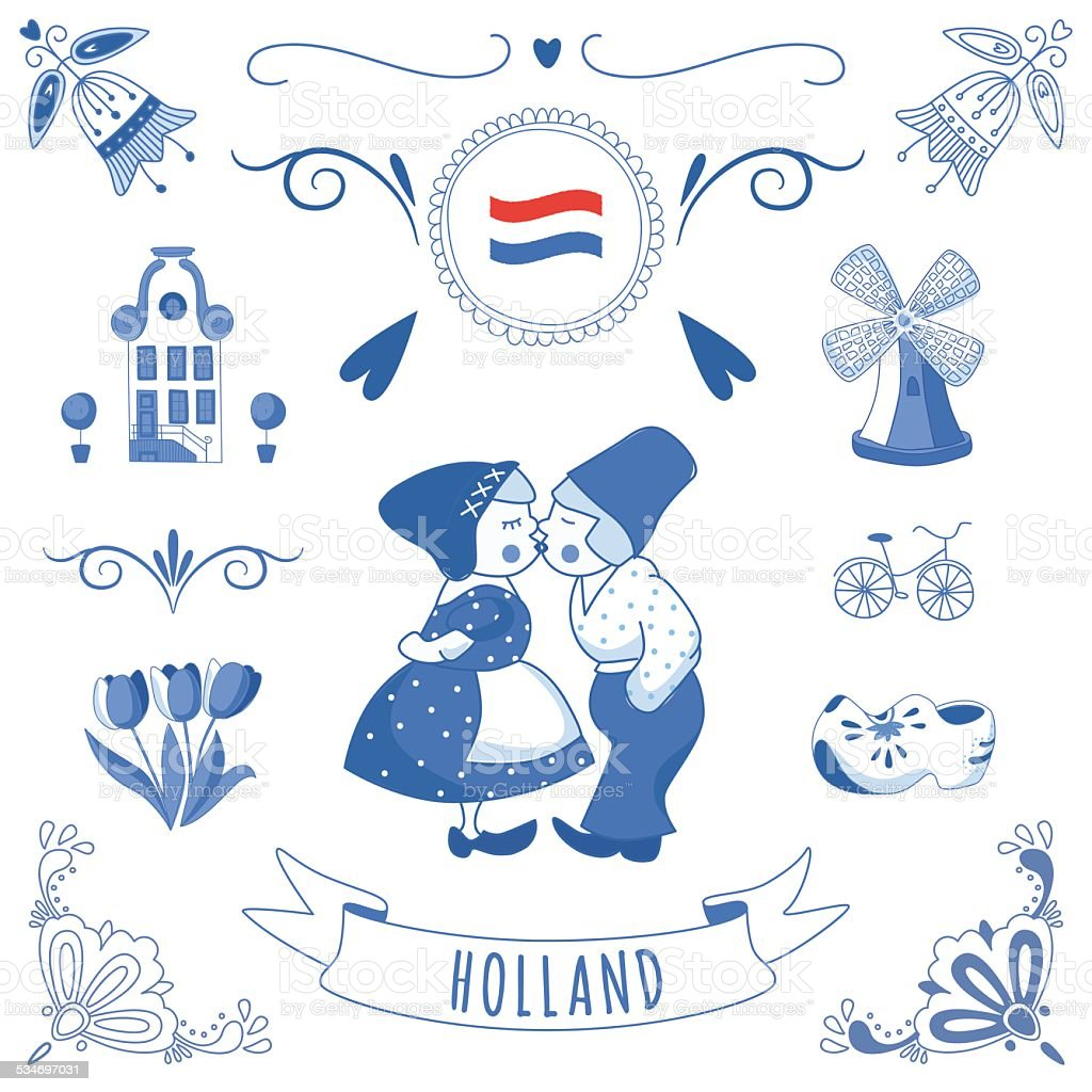 Collection of Dutch ornaments (Deflt blue style) vector art illustration