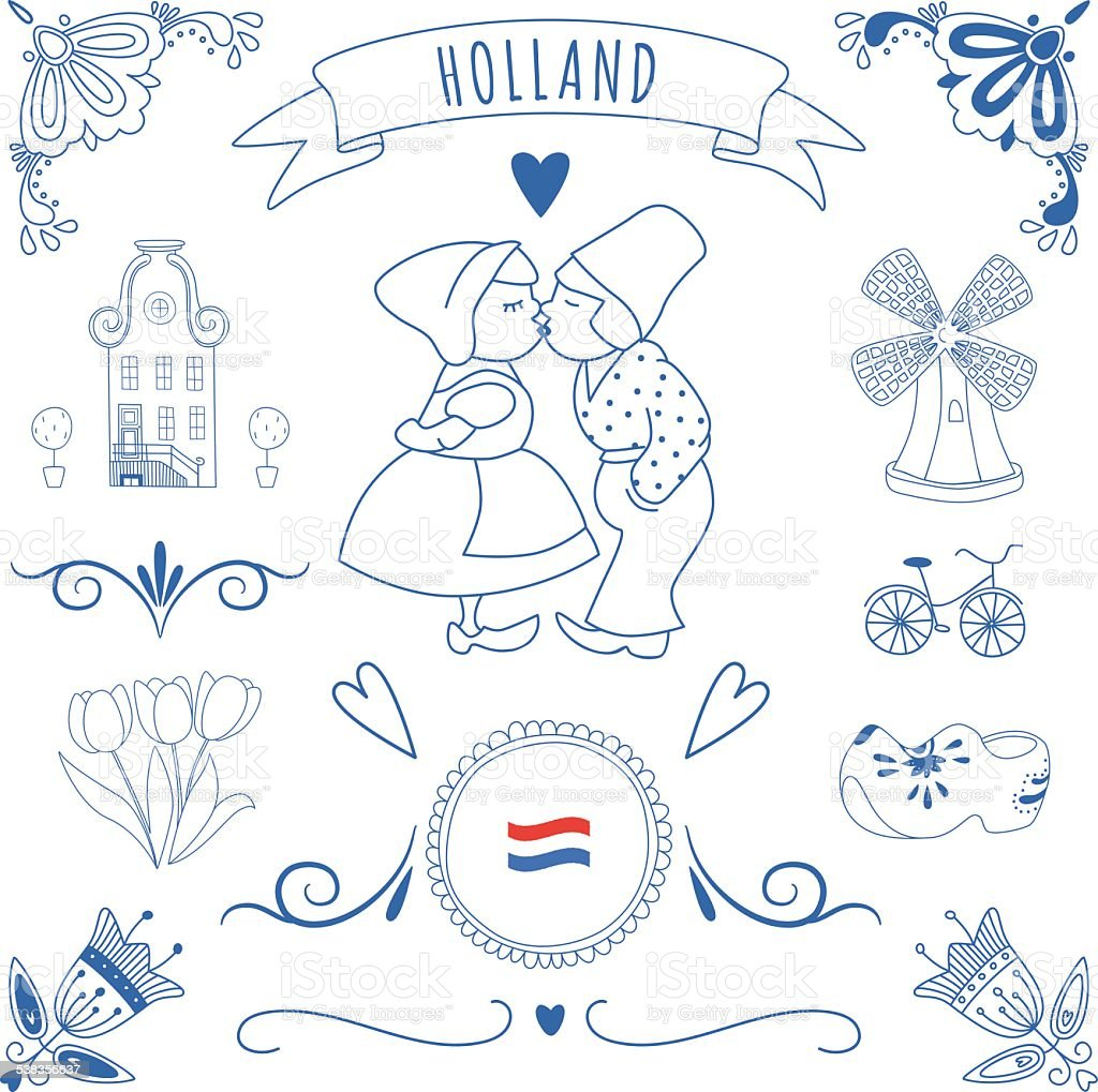 Collection of Dutch ornaments (Deflt blue style) vector art illustration