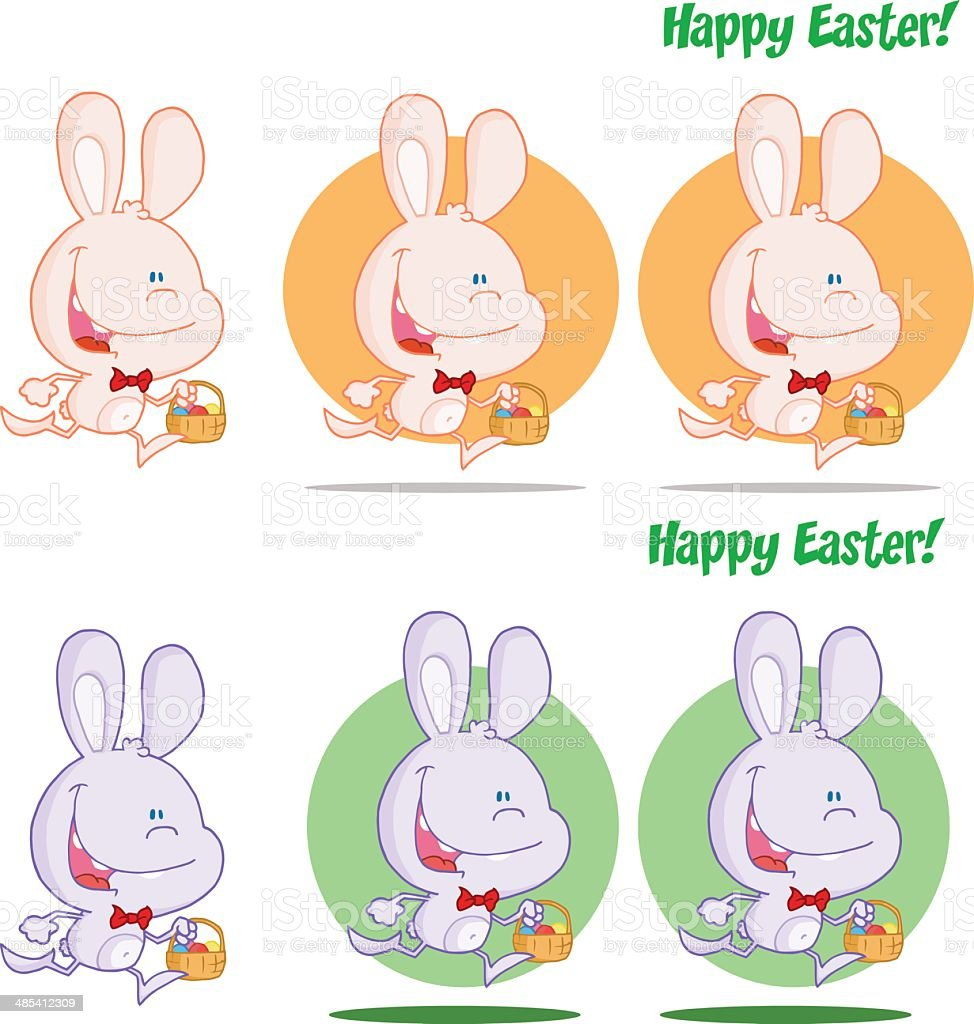 Collection of Easter Bunnys Running vector art illustration