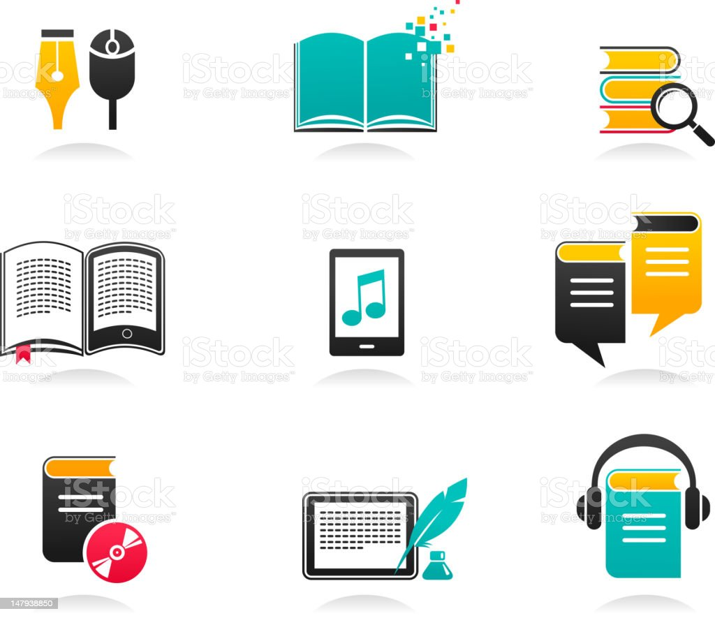 collection of E-book, audiobook and literature icons - 1 vector art illustration