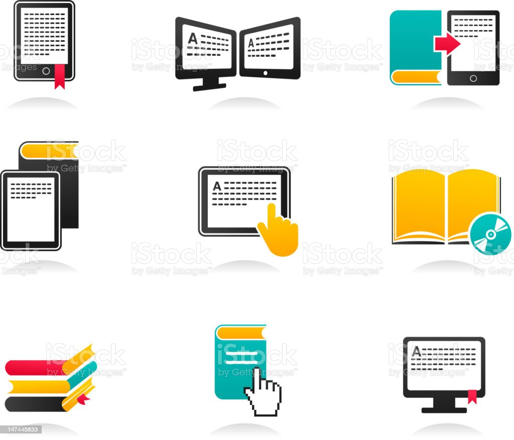 collection of E-book, audiobook and literature icons - 2 royalty-free stock vector art