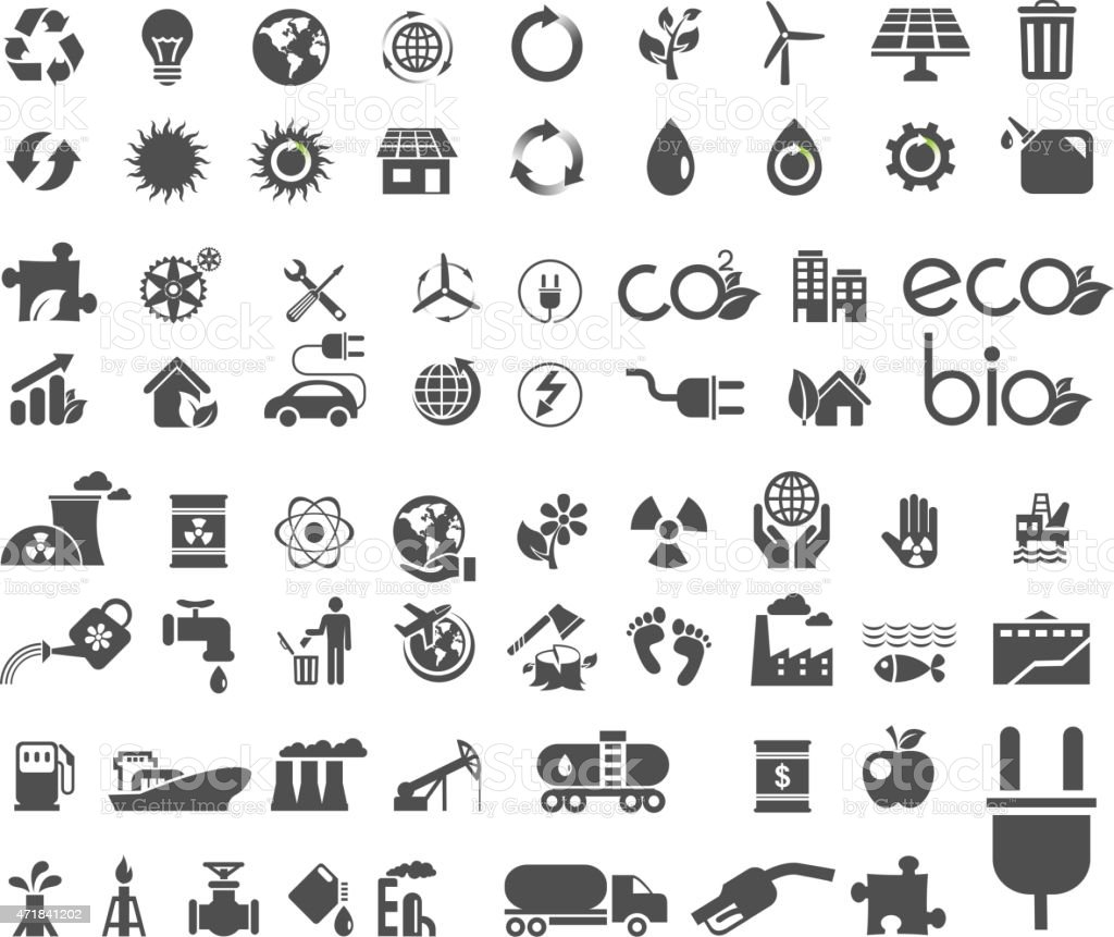 Collection of ecology flat icons vector art illustration