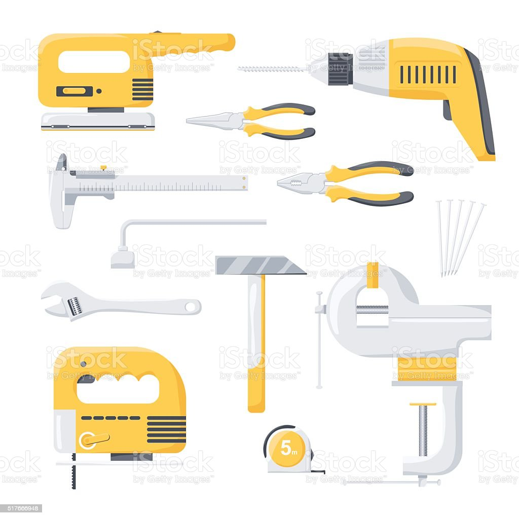Collection of electric and mechanical power repair worker tools. vector art illustration