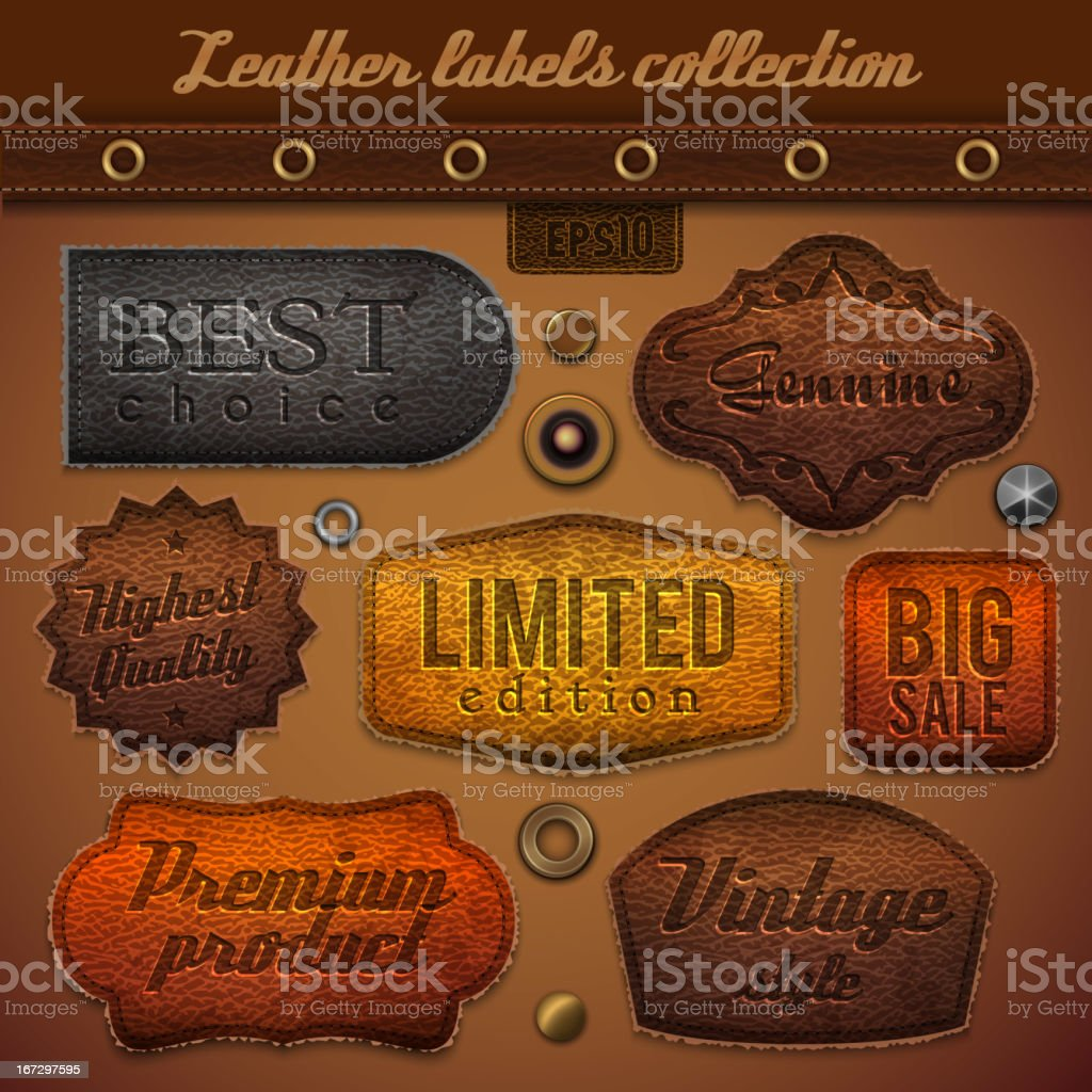 Collection of embossed leather commercial labels royalty-free stock vector art