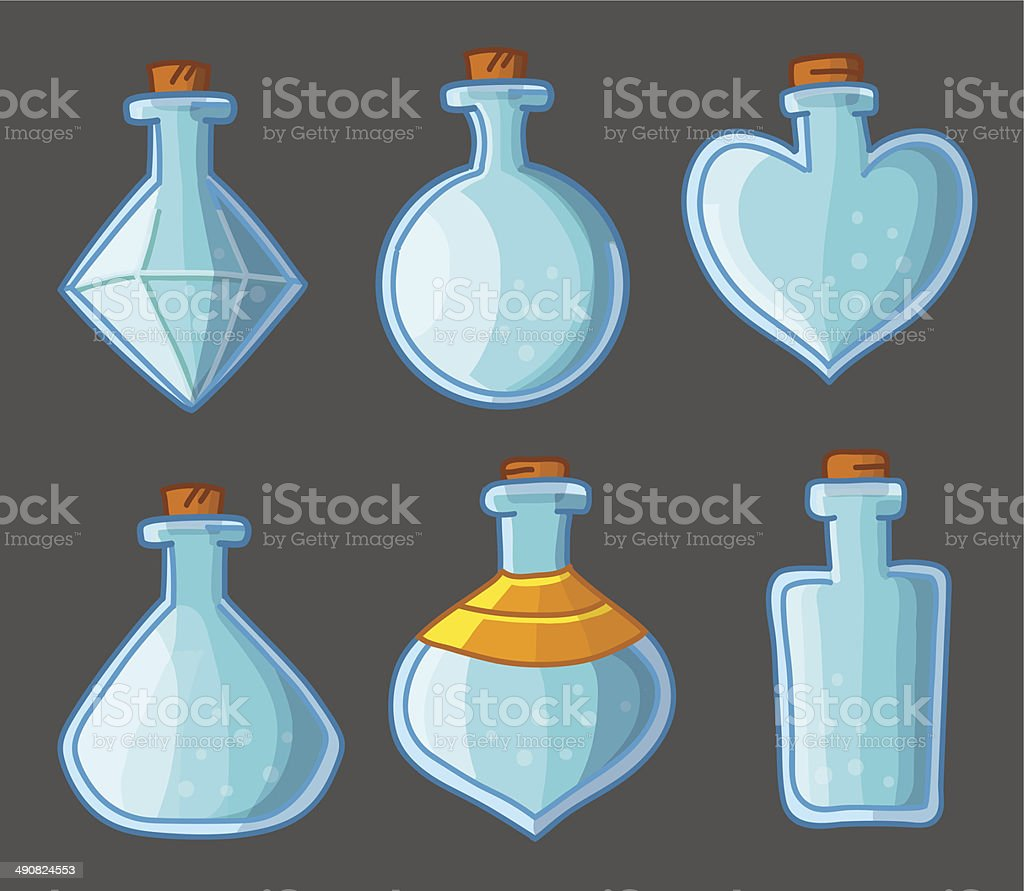 Коллекция пустые флаконы magic векторная иллюстрация