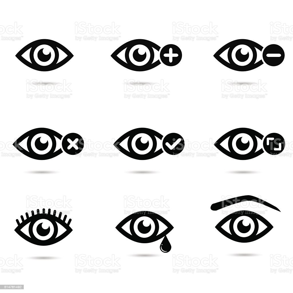 Collection of eye icons. vector art illustration