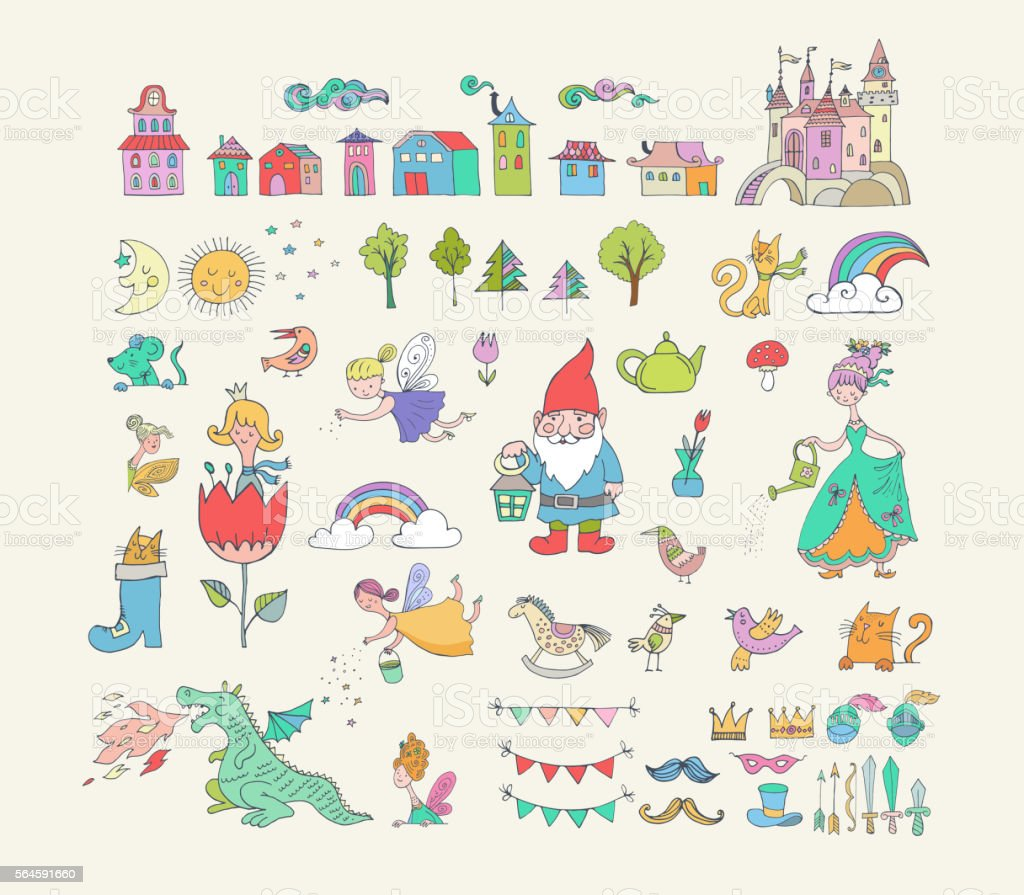 Collection of fairy tales hand drawn doodles, illustrations vector art illustration