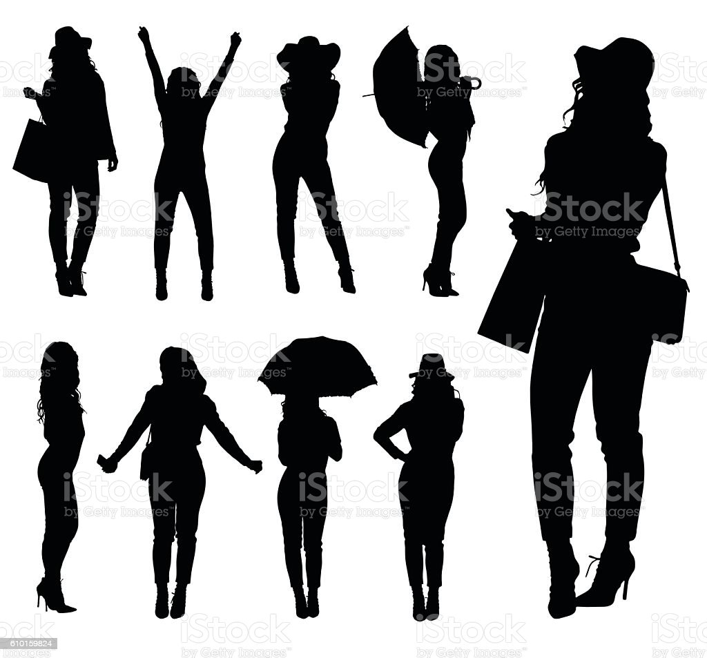 Collection of fashion woman silhouettes with various accessories vector art illustration