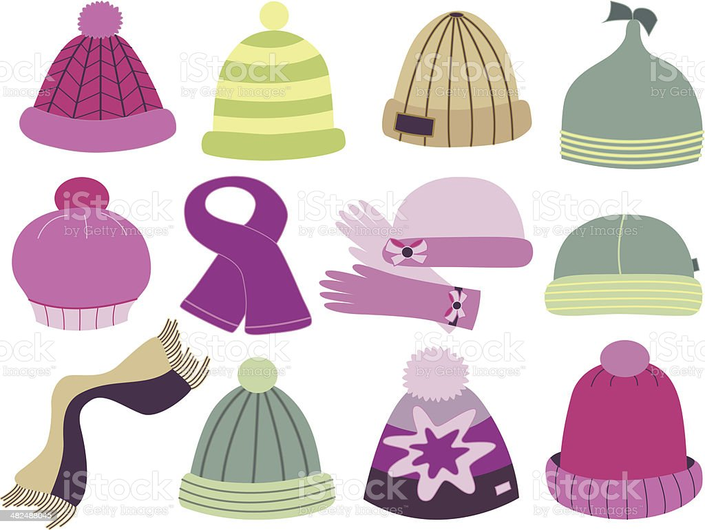 collection of fashionable caps (vector illustration) royalty-free stock vector art