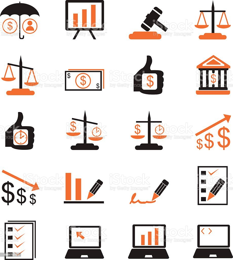Collection of finance and management icons vector art illustration