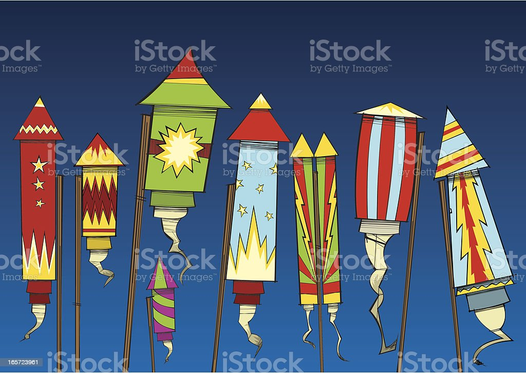 Collection of Fireworks vector art illustration