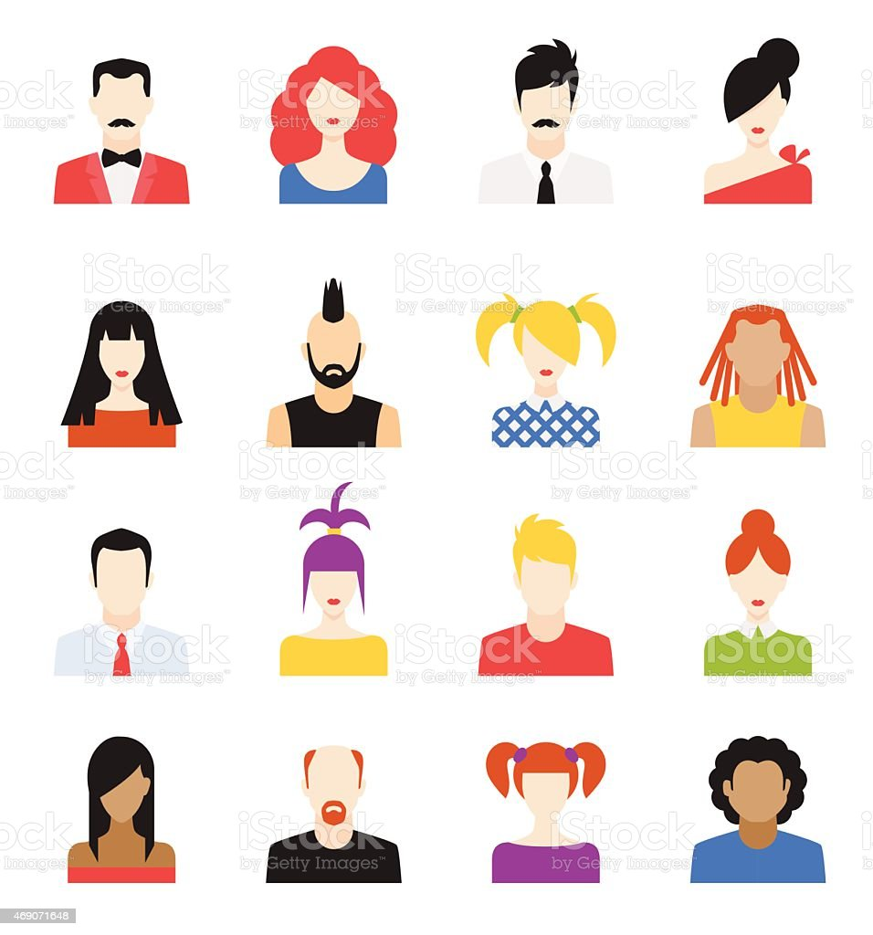 Collection of flat designs of people vector art illustration
