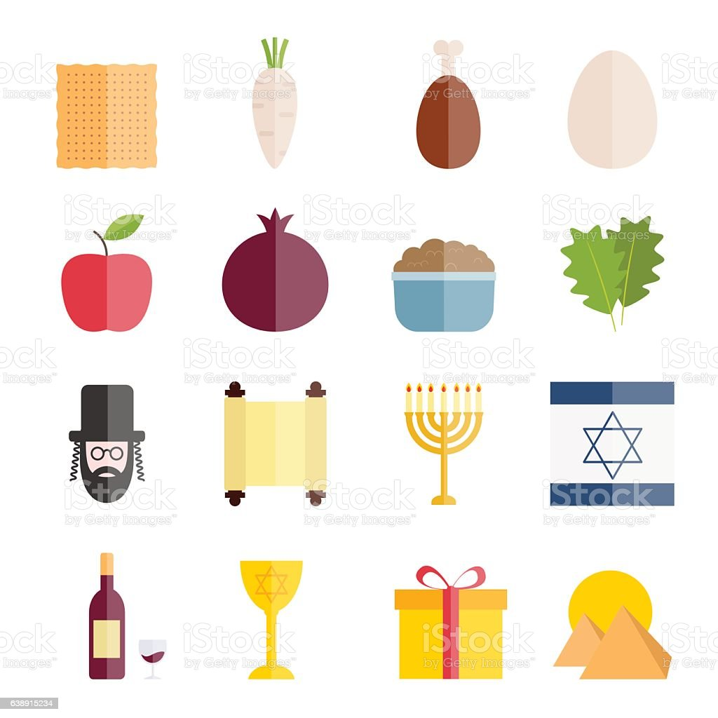Collection of flat icons of Jewish holiday Passover vector art illustration