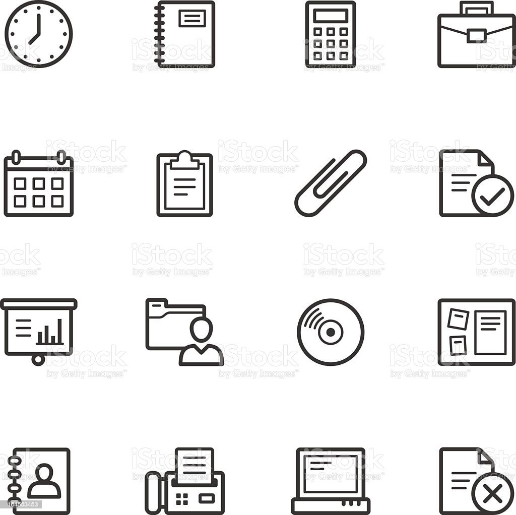 Collection of flat illustrations office icons royalty-free stock vector art