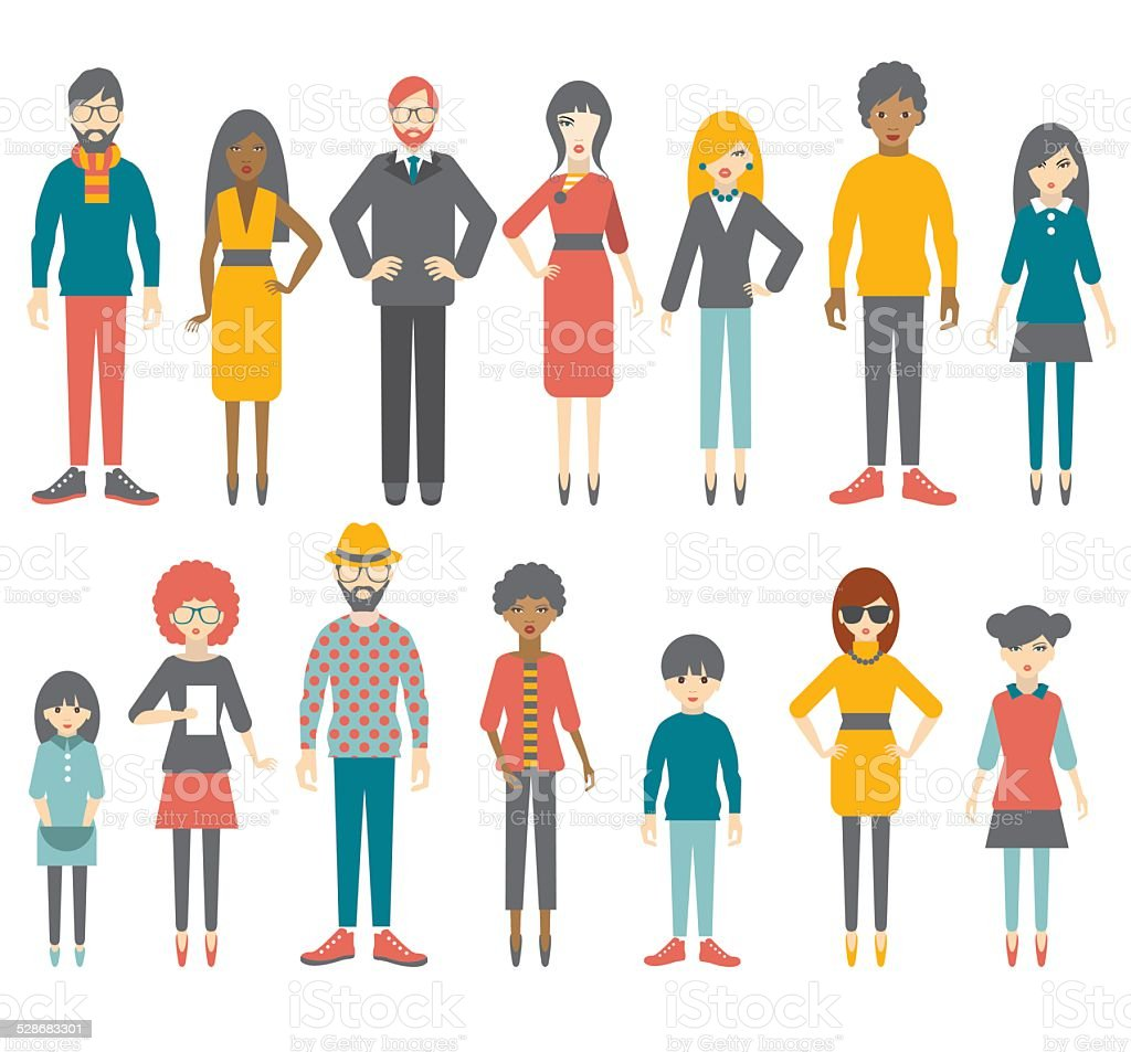 Collection of flat people figures. Vector. vector art illustration